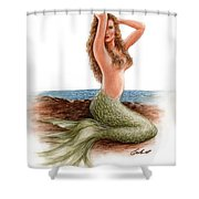 mermaid On The Shore Shower Curtain