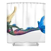 Mermaid On White Shower Curtain