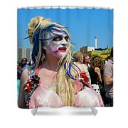Mermaid Parade Man In Coney Island Shower Curtain