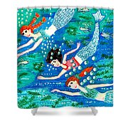 Mermaid Race Shower Curtain by Sushila Burgess