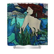 Mermaid  Sleeping Shower Curtain