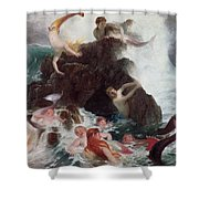Mermaids At Play Shower Curtain