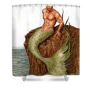 Merman On The Rocks Shower Curtain