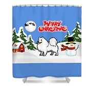 Merry Christmas American Eskimo Dog  Shower Curtain