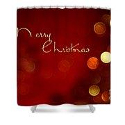 Merry Christmas Card - Bokeh Shower Curtain