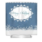 Merry Christmas In Blue Shower Curtain