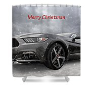 Merry Christmas Mustang S550 Shower Curtain