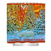 Merry Christmas Polar Bears Shower Curtain