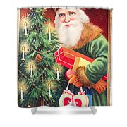 Merry Christmas Santa Delivers Gifts Vintage Card Shower Curtain