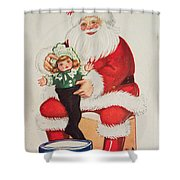 Merry Christmas Santa Pulls Doll From His Sack Vintage Card Shower Curtain