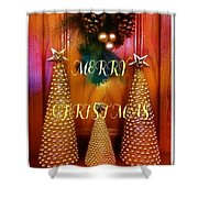 Merry Christmas Trees Colorful Shower Curtain
