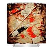 Messy Painters Palette Shower Curtain