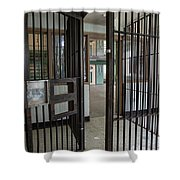 Metal Bars Leading Into Cellblock In Prison Shower Curtain
