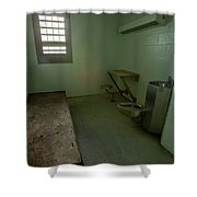 Metal Bed Inside Solitary Confinement Cell Shower Curtain