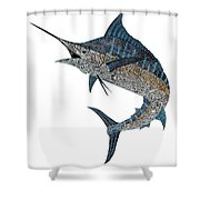 Metal Marlin Tribal Shower Curtain