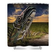 Metal Monster Emerging From The Earth Shower Curtain