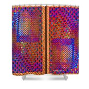 Metal Panel Abstract Shower Curtain
