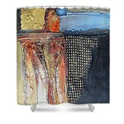 Metallic Fall With Blue Shower Curtain