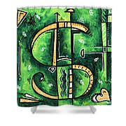Metallic Gold Dollar Sign For The Love Of Money Mini Pop Art Painting Madart Shower Curtain