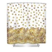 Metallic Gold Floral Flower Swirls Trendy Unique Art By Madart Shower Curtain