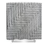 Metallic Grey Rope Weaved Pattern Shower Curtain