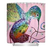 Metallic Hummingbird  Shower Curtain