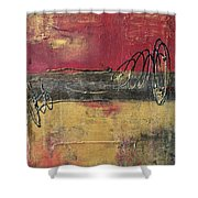 Metallic Square Series I - Red And Gold Urban Abstract Painting Shower Curtain