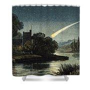 Meteor In Night Sky, 1868 Shower Curtain