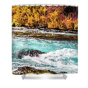 Metolius River Shower Curtain by David Millenheft