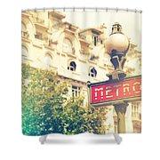 Metro Sign Paris Shabby Chic Shower Curtain