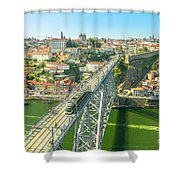 Metro Train Over Porto Bridge Shower Curtain