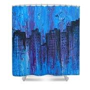 Metropolis In Blue Shower Curtain