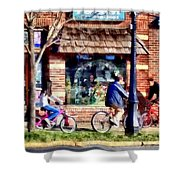 Metuchen Nj - Bicyclists On Main Street Shower Curtain