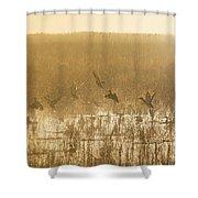 Metzgers Marsh In Fog Shower Curtain