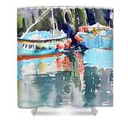 Mevagissey Harbour Shower Curtain