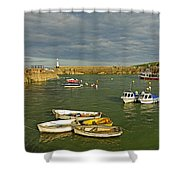 Mevagissey Outer Harbour Shower Curtain