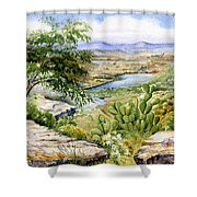 Mexican Landscape Watercolor Shower Curtain