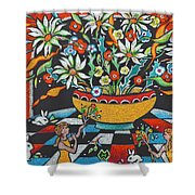 Mexican Vase With Spring Flowers Shower Curtain