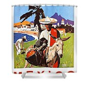 Mexico, Mexican Posing With Donkey Shower Curtain