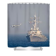 Mh-60r Sea Hawk Helicopter Flies Shower Curtain