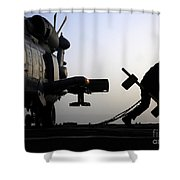 Mh-60r Sea Hawk Helicopter Is Ready For Duty Shower Curtain