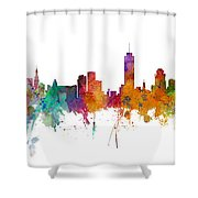 Miami And Nashville Skylines Mashup Shower Curtain