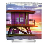 Miami Beach Round Life Guard House Sunrise Shower Curtain