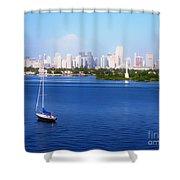 Miami Florida Skyline Shower Curtain