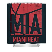 Miami Heat City Poster Art Shower Curtain