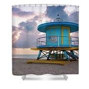 Miami Lifeguard Cabin At Sunrise Shower Curtain