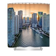Miami River Fron The Drone Shower Curtain