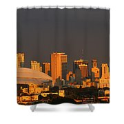 Miami Skyline At Sunset Shower Curtain