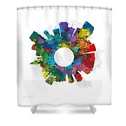 Miami Small World Cityscape Skyline Abstract Shower Curtain
