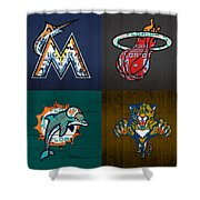 Miami Sports Fan Recycled Vintage Florida License Plate Art Marlins Heat Dolphins Panthers Shower Curtain
